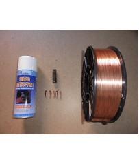 Bobina filo 5 kg  0,6 acciaio  carbonio  con ricambi torcia e antiadesivo .